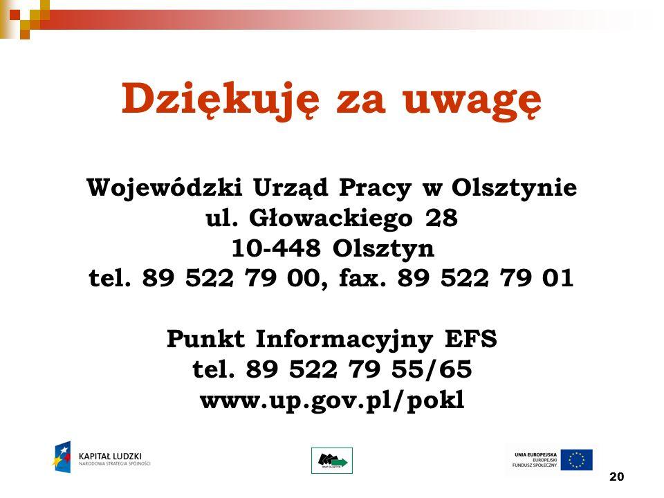 20 Dziękuję za uwagę Wojewódzki Urząd Pracy w Olsztynie ul. Głowackiego 28 10-448 Olsztyn tel. 89 522 79 00, fax. 89 522 79 01 Punkt Informacyjny EFS