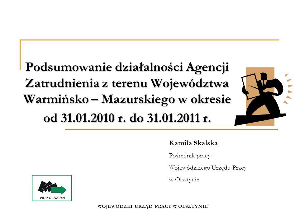 Podsumowanie działalności Agencji Zatrudnienia z terenu Województwa Warmińsko – Mazurskiego w okresie od 31.01.2010 r.