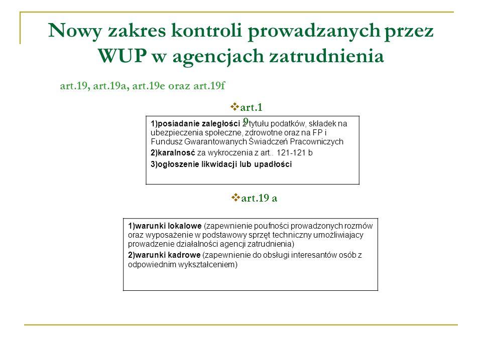 Nowy zakres kontroli prowadzanych przez WUP w agencjach zatrudnienia art.19, art.19a, art.19e oraz art.19f 1)posiadanie zaległości z tytułu podatków, składek na ubezpieczenia społeczne, zdrowotne oraz na FP i Fundusz Gwarantowanych Świadczeń Pracowniczych 2)karalnosć za wykroczenia z art..