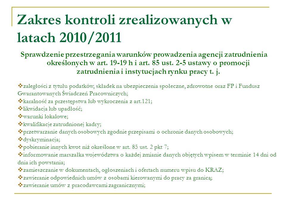 Zakres kontroli zrealizowanych w latach 2010/2011 Sprawdzenie przestrzegania warunków prowadzenia agencji zatrudnienia określonych w art.