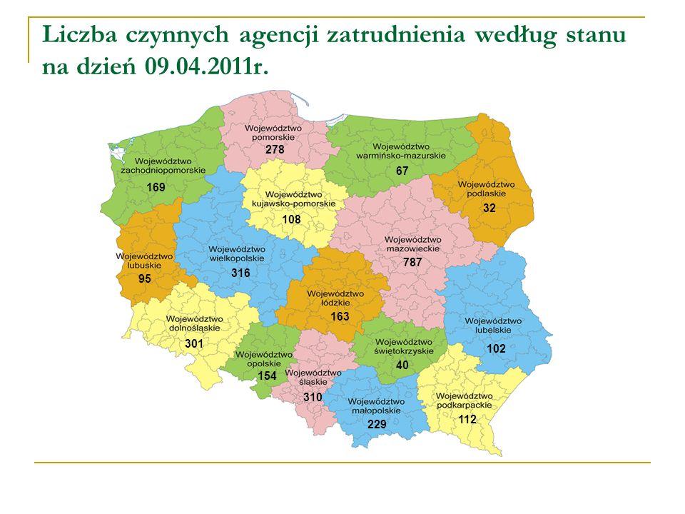 Liczba czynnych agencji zatrudnienia według stanu na dzień 09.04.2011r.