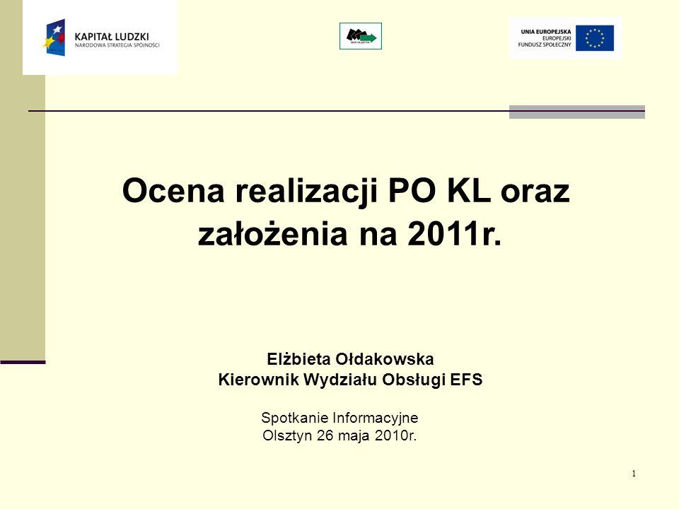 1 Ocena realizacji PO KL oraz założenia na 2011r.