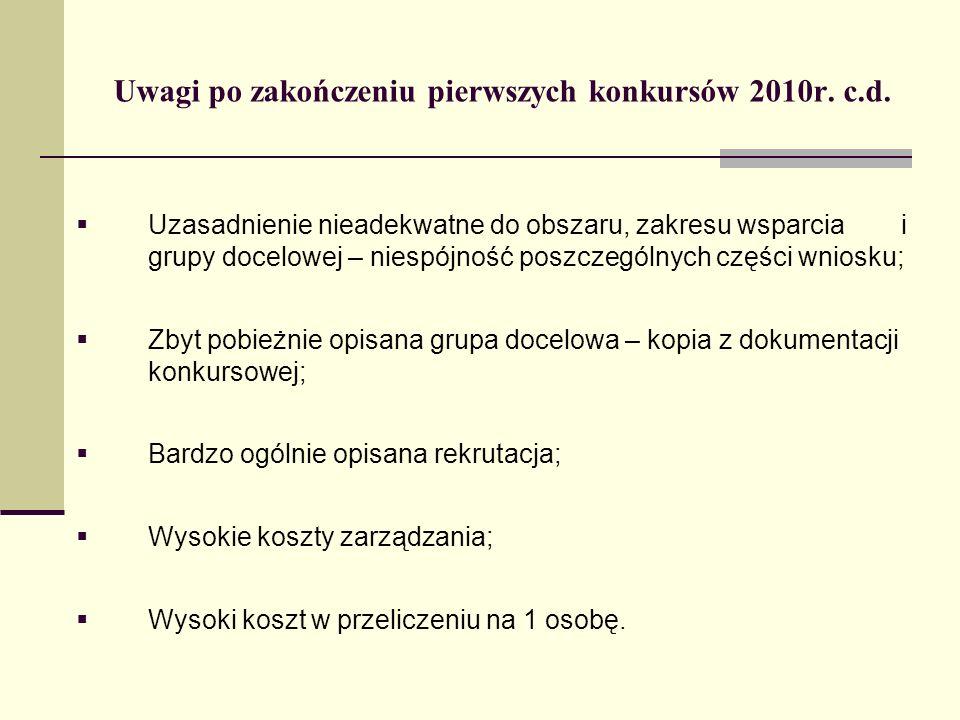 Uwagi po zakończeniu pierwszych konkursów 2010r. c.d.