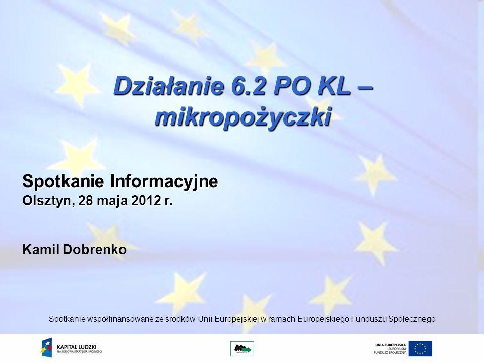 Działanie 6.2 PO KL – mikropożyczki Kamil Dobrenko Spotkanie współfinansowane ze środków Unii Europejskiej w ramach Europejskiego Funduszu Społecznego