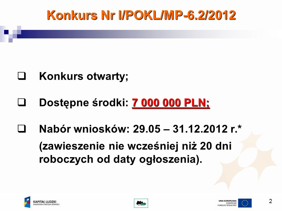2 Konkurs Nr I/POKL/MP-6.2/2012 Konkurs otwarty; Konkurs otwarty; Dostępne środki: 7 000 000 PLN; Dostępne środki: 7 000 000 PLN; Nabór wniosków: 29.0