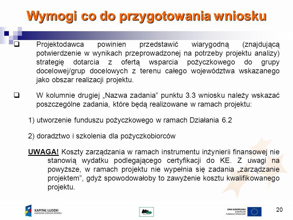 20 Wymogi co do przygotowania wniosku Projektodawca powinien przedstawić wiarygodną (znajdującą potwierdzenie w wynikach przeprowadzonej na potrzeby p