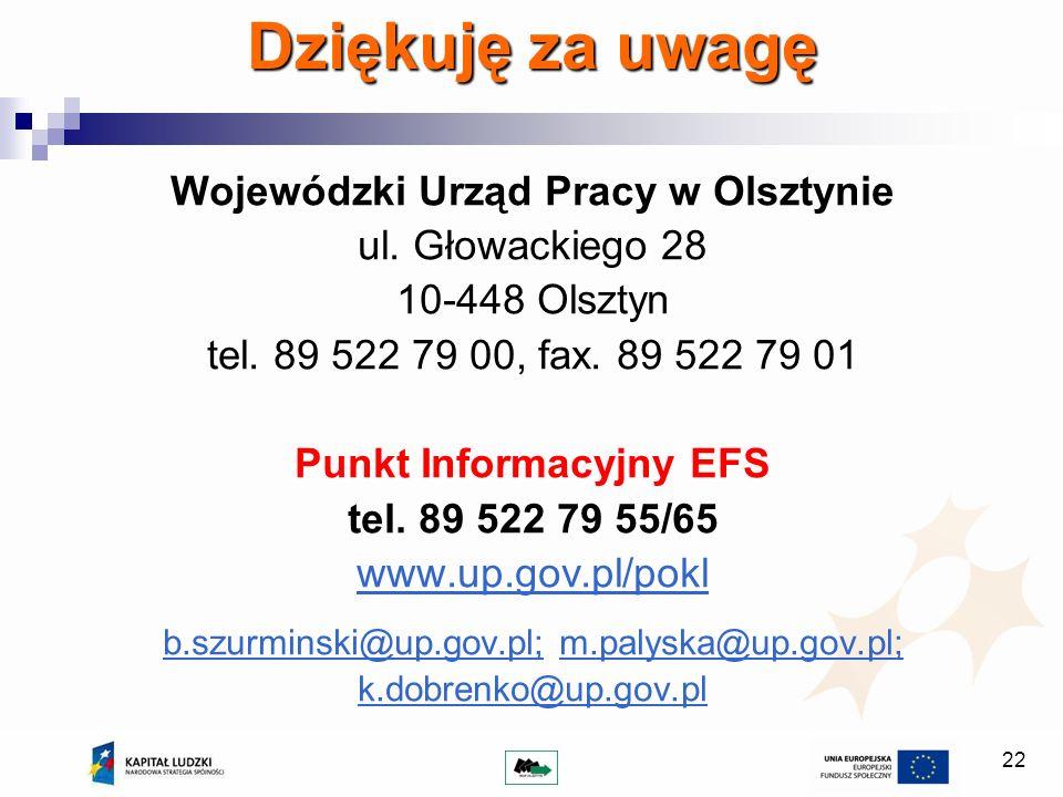 22 Dziękuję za uwagę Wojewódzki Urząd Pracy w Olsztynie ul. Głowackiego 28 10-448 Olsztyn tel. 89 522 79 00, fax. 89 522 79 01 Punkt Informacyjny EFS