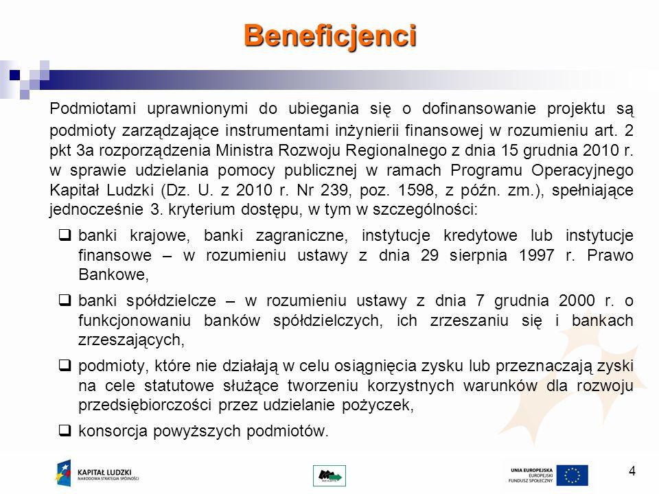 4 Podmiotami uprawnionymi do ubiegania się o dofinansowanie projektu są podmioty zarządzające instrumentami inżynierii finansowej w rozumieniu art. 2
