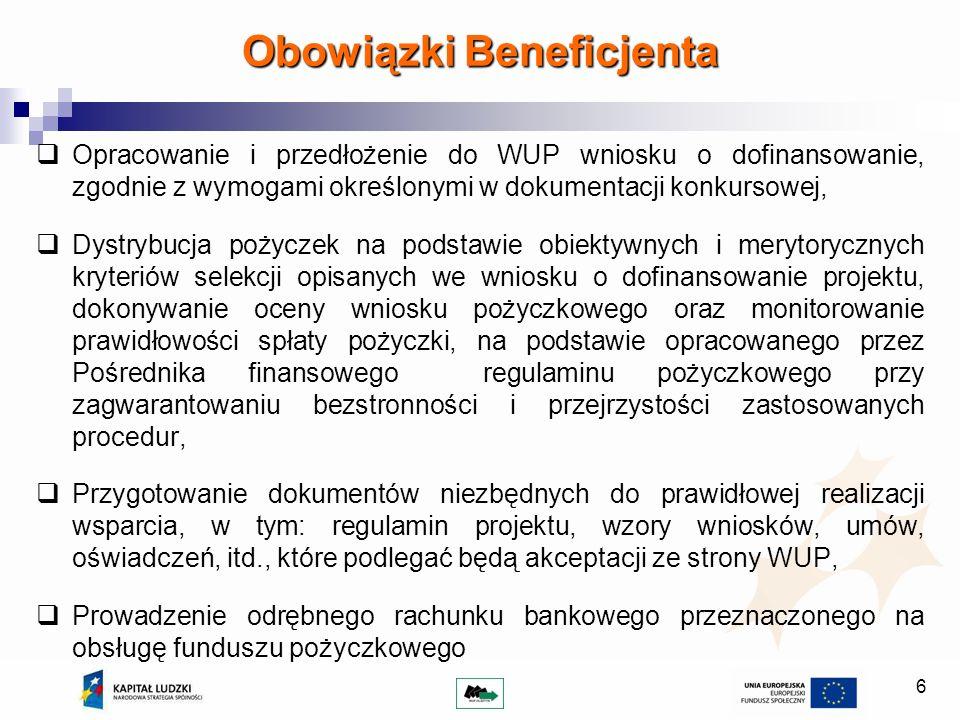 7 Prowadzenie oddzielnej księgowości funduszu pożyczkowego, Rozliczanie otrzymanych środków (pożyczki, koszty zarządzania funduszem, koszty doradztwa i szkoleń), Zarządzanie kapitałem funduszu (Pośrednik finansowy powinien maksymalizować zyski z kapitału, inwestując je wyłącznie w bezpieczne narzędzia finansowe), Wypełnianie obowiązków związanych z udzielaniem pomocy de minimis, Pełna archiwizacja dokumentacji pożyczkowej, Bieżący monitoring realizacji umowy pożyczki (korzystanie ze szkoleń i doradztwa, prowadzenie działalności gospodarczej, przeznaczenie pożyczki, spłata pożyczki), Sprawozdawczość na poziomie umowy o dofinansowanie projektu.