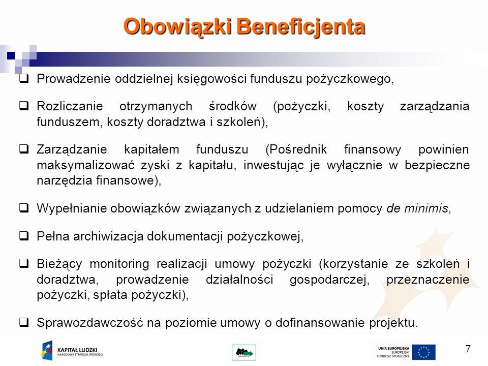 7 Prowadzenie oddzielnej księgowości funduszu pożyczkowego, Rozliczanie otrzymanych środków (pożyczki, koszty zarządzania funduszem, koszty doradztwa