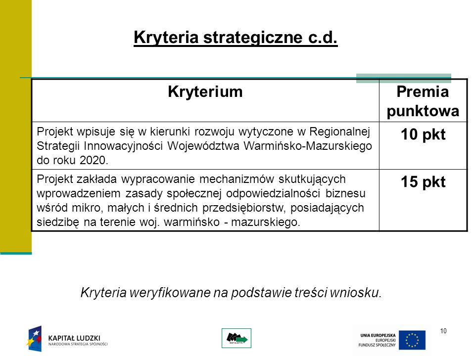 10 Kryteria strategiczne c.d. KryteriumPremia punktowa Projekt wpisuje się w kierunki rozwoju wytyczone w Regionalnej Strategii Innowacyjności Wojewód