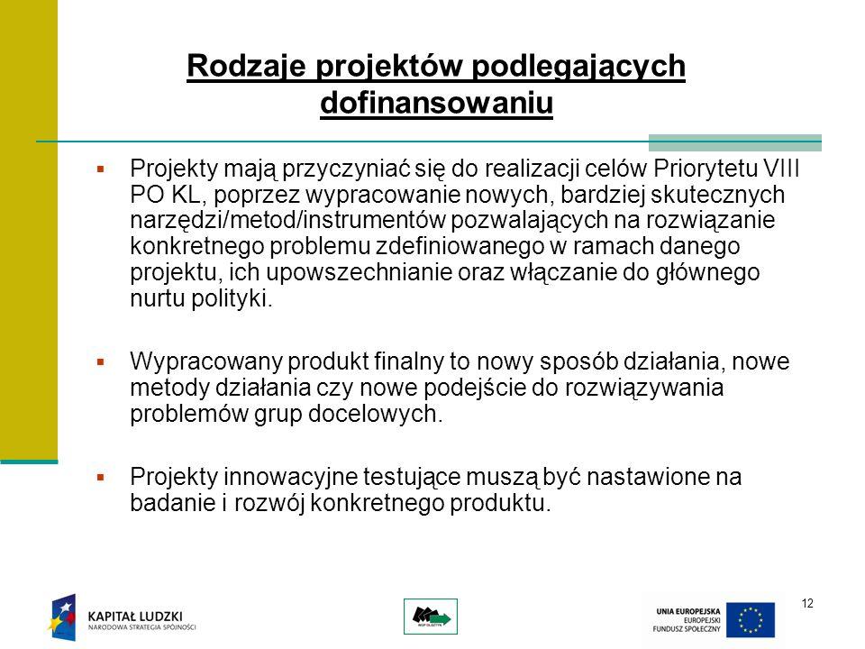 12 Projekty mają przyczyniać się do realizacji celów Priorytetu VIII PO KL, poprzez wypracowanie nowych, bardziej skutecznych narzędzi/metod/instrumentów pozwalających na rozwiązanie konkretnego problemu zdefiniowanego w ramach danego projektu, ich upowszechnianie oraz włączanie do głównego nurtu polityki.