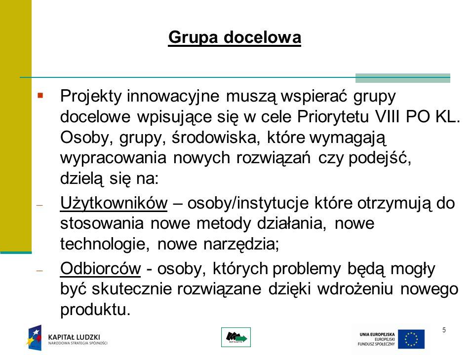 5 Grupa docelowa Projekty innowacyjne muszą wspierać grupy docelowe wpisujące się w cele Priorytetu VIII PO KL. Osoby, grupy, środowiska, które wymaga