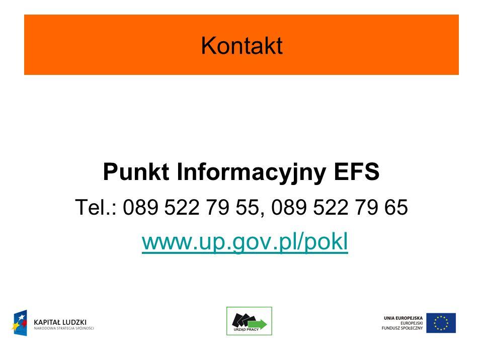 Kontakt Punkt Informacyjny EFS Tel.: 089 522 79 55, 089 522 79 65 www.up.gov.pl/pokl