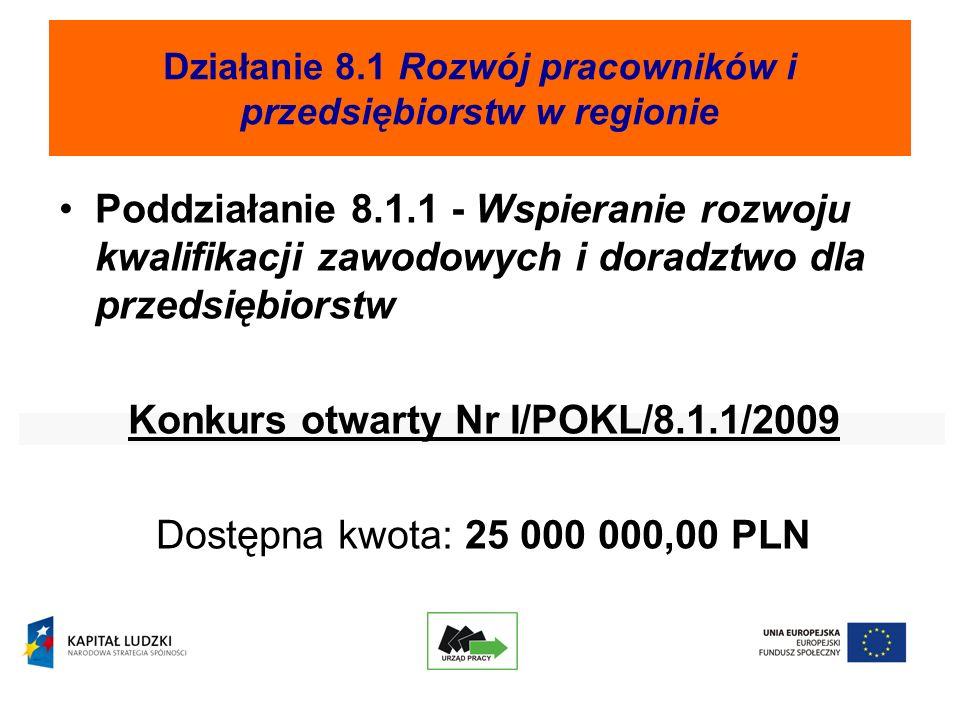 Działanie 8.1 Rozwój pracowników i przedsiębiorstw w regionie Poddziałanie 8.1.1 - Wspieranie rozwoju kwalifikacji zawodowych i doradztwo dla przedsiębiorstw Konkurs otwarty Nr I/POKL/8.1.1/2009 Dostępna kwota: 25 000 000,00 PLN