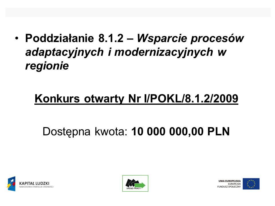 Poddziałanie 8.1.2 – Wsparcie procesów adaptacyjnych i modernizacyjnych w regionie Konkurs otwarty Nr I/POKL/8.1.2/2009 Dostępna kwota: 10 000 000,00 PLN