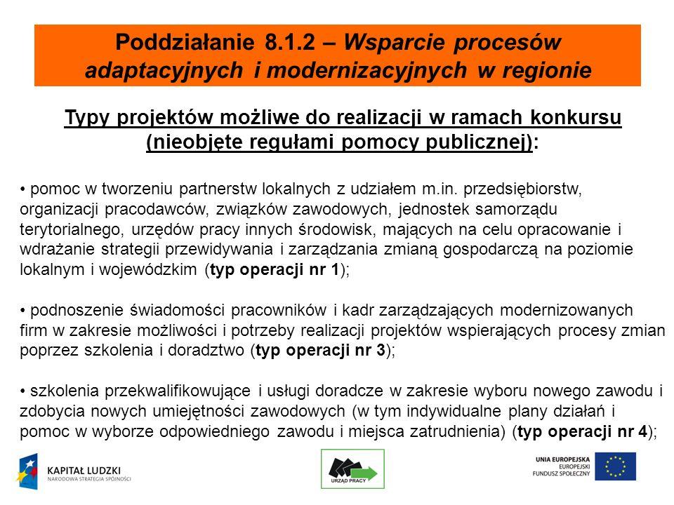 Poddziałanie 8.1.2 – Wsparcie procesów adaptacyjnych i modernizacyjnych w regionie Typy projektów możliwe do realizacji w ramach konkursu (nieobjęte regułami pomocy publicznej): pomoc w tworzeniu partnerstw lokalnych z udziałem m.in.