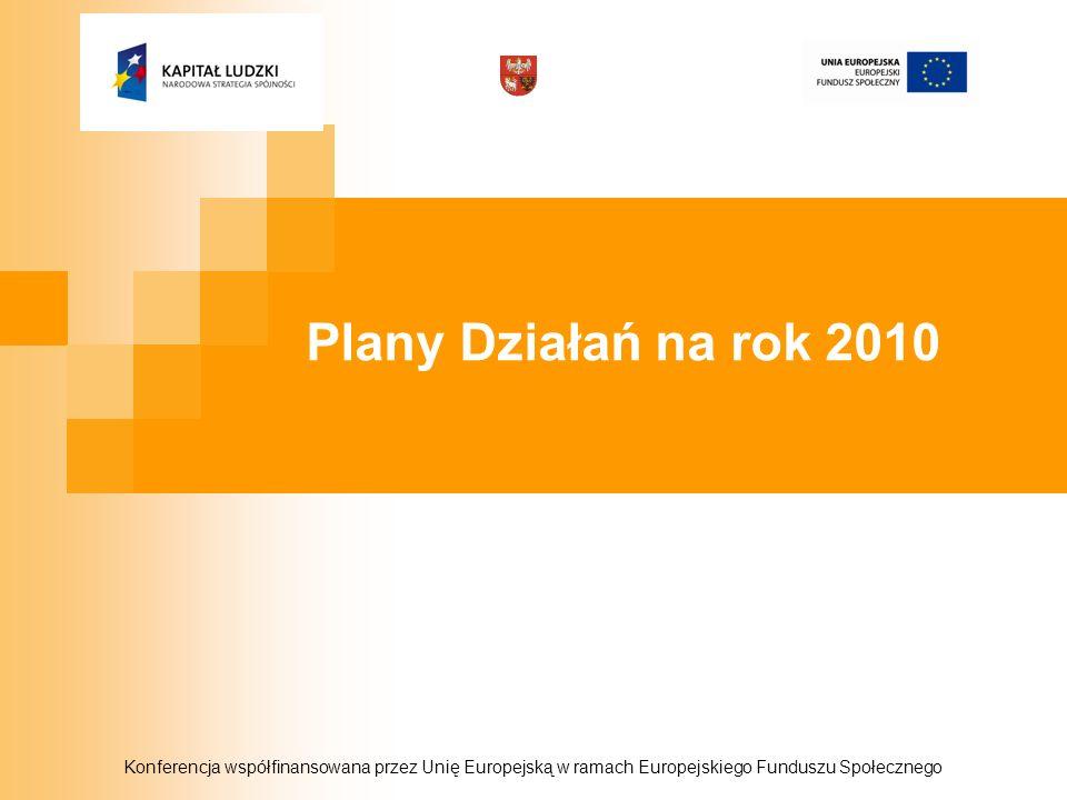 Konferencja współfinansowana przez Unię Europejską w ramach Europejskiego Funduszu Społecznego Plany Działań na rok 2010