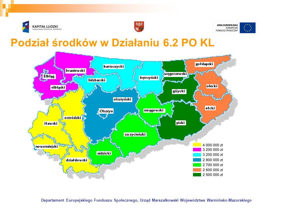 Departament Europejskiego Funduszu Społecznego, Urząd Marszałkowski Województwa Warmińsko-Mazurskiego Podział środków w Działaniu 6.2 PO KL