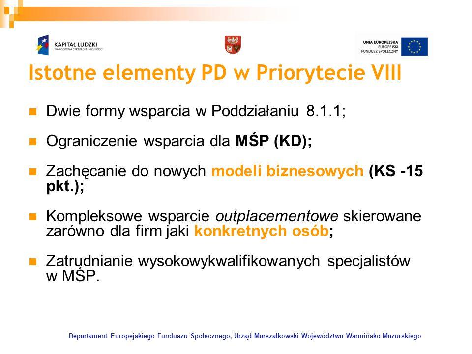 Departament Europejskiego Funduszu Społecznego, Urząd Marszałkowski Województwa Warmińsko-Mazurskiego Istotne elementy PD w Priorytecie VIII Dwie form