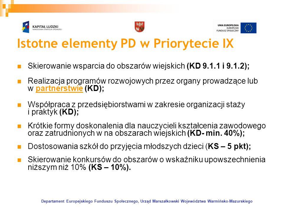 Departament Europejskiego Funduszu Społecznego, Urząd Marszałkowski Województwa Warmińsko-Mazurskiego Istotne elementy PD w Priorytecie IX Skierowanie