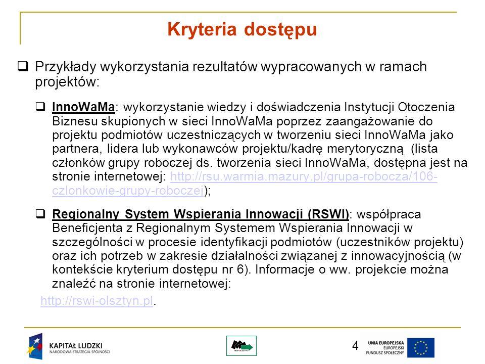 5 Przykłady wykorzystania rezultatów wypracowanych w ramach projektów: Grono Menadżerów: rezultatem projektu było m.in.
