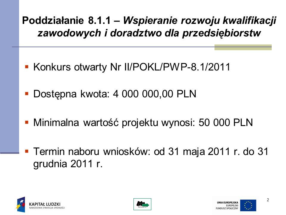2 Poddziałanie 8.1.1 – Wspieranie rozwoju kwalifikacji zawodowych i doradztwo dla przedsiębiorstw Konkurs otwarty Nr II/POKL/PWP-8.1/2011 Dostępna kwo
