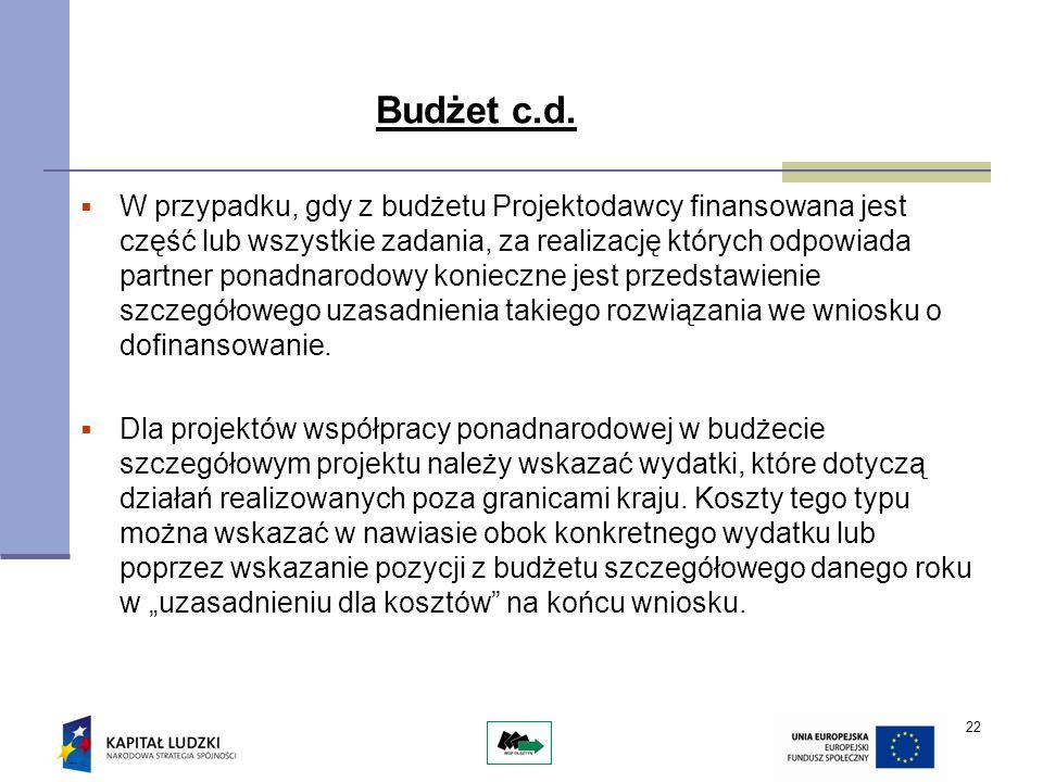 22 Budżet c.d. W przypadku, gdy z budżetu Projektodawcy finansowana jest część lub wszystkie zadania, za realizację których odpowiada partner ponadnar
