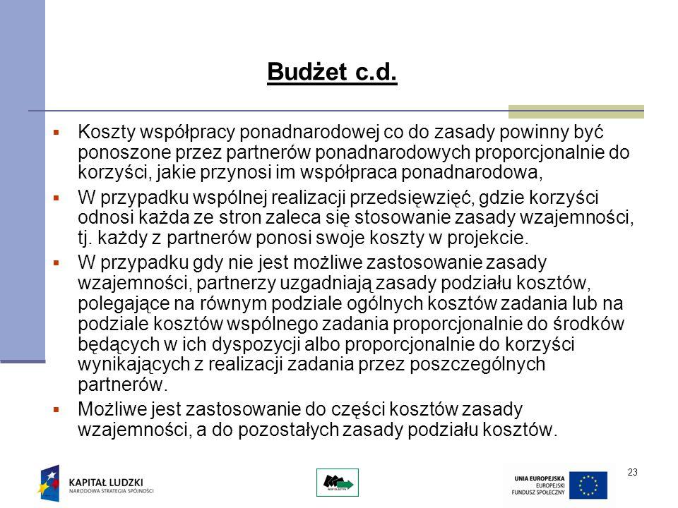 23 Budżet c.d. Koszty współpracy ponadnarodowej co do zasady powinny być ponoszone przez partnerów ponadnarodowych proporcjonalnie do korzyści, jakie