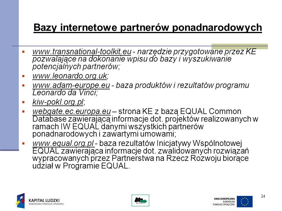 24 Bazy internetowe partnerów ponadnarodowych www.transnational-toolkit.eu - narzędzie przygotowane przez KE pozwalające na dokonanie wpisu do bazy i