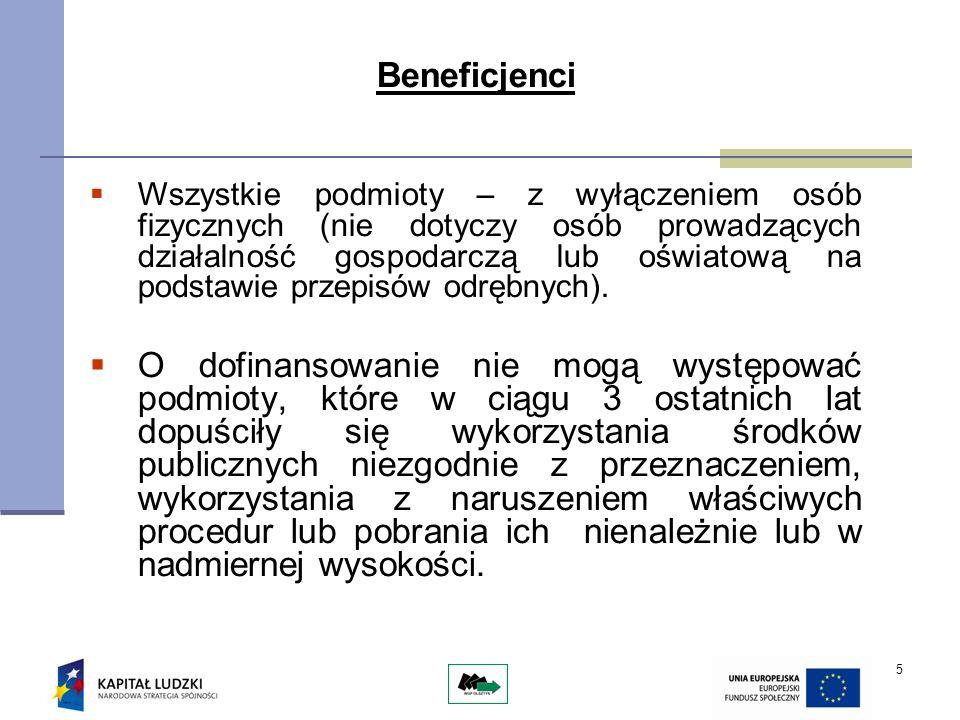 5 Beneficjenci Wszystkie podmioty – z wyłączeniem osób fizycznych (nie dotyczy osób prowadzących działalność gospodarczą lub oświatową na podstawie pr