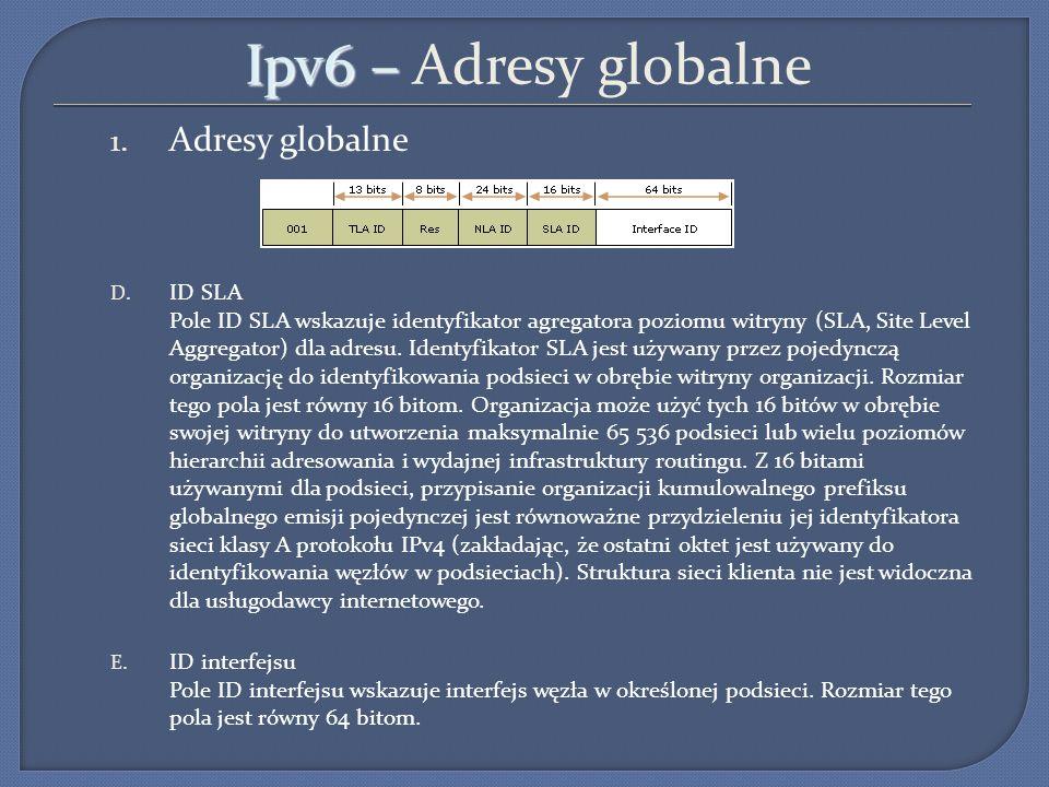 Ipv6 – Ipv6 – Adresy globalne 1. Adresy globalne D. ID SLA Pole ID SLA wskazuje identyfikator agregatora poziomu witryny (SLA, Site Level Aggregator)