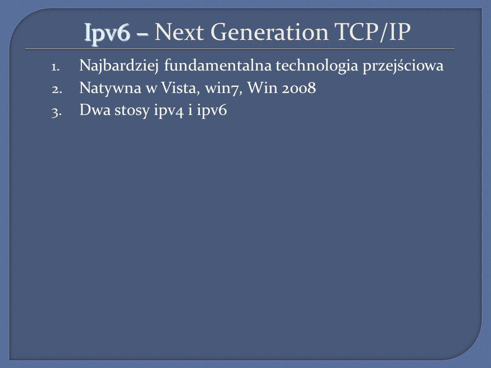 Ipv6 – Ipv6 – Next Generation TCP/IP 1. Najbardziej fundamentalna technologia przejściowa 2. Natywna w Vista, win7, Win 2008 3. Dwa stosy ipv4 i ipv6