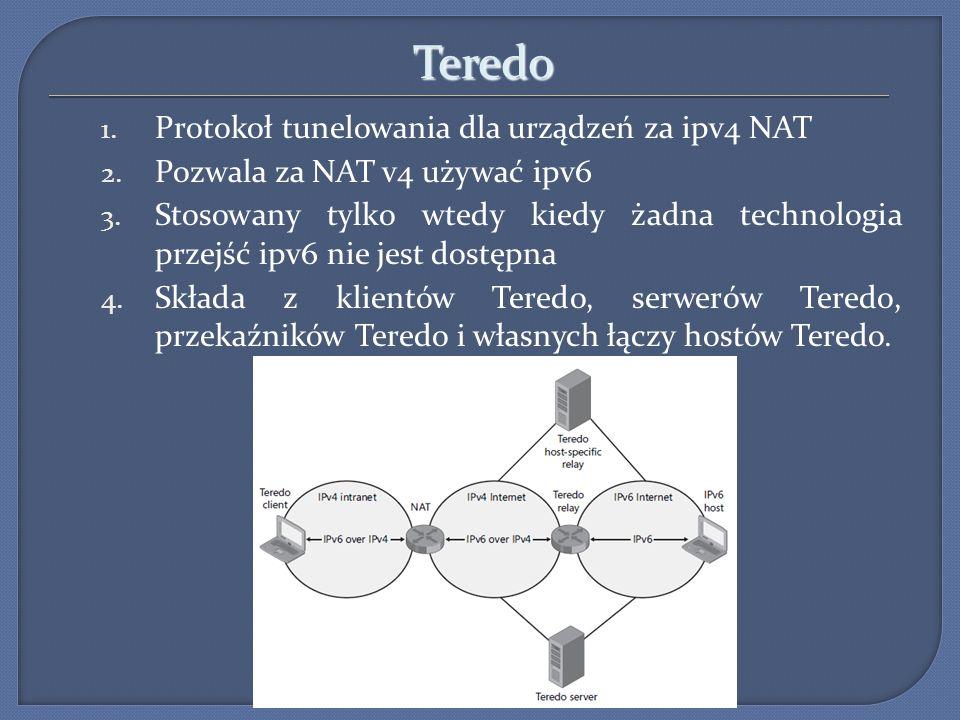 Teredo 1. Protokoł tunelowania dla urządzeń za ipv4 NAT 2. Pozwala za NAT v4 używać ipv6 3. Stosowany tylko wtedy kiedy żadna technologia przejść ipv6