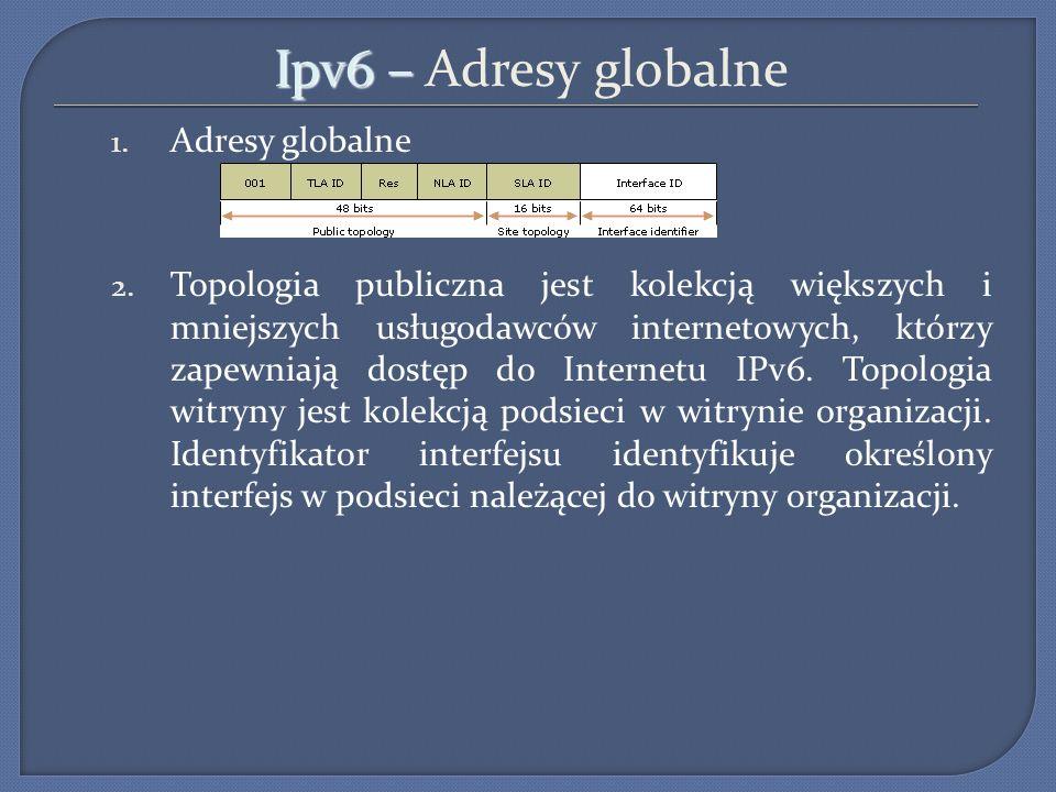 Ipv6 – Ipv6 – Adresy globalne 1. Adresy globalne 2. Topologia publiczna jest kolekcją większych i mniejszych usługodawców internetowych, którzy zapewn