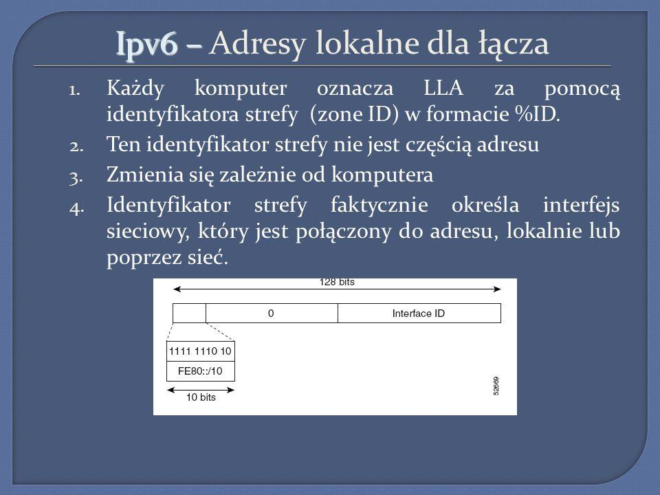 Ipv6 – Ipv6 – Adresy lokalne dla łącza 1. Każdy komputer oznacza LLA za pomocą identyfikatora strefy (zone ID) w formacie %ID. 2. Ten identyfikator st