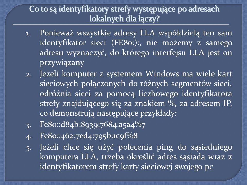 Co to są identyfikatory strefy występujące po adresach lokalnych dla łączy? 1. Ponieważ wszystkie adresy LLA współdzielą ten sam identyfikator sieci (