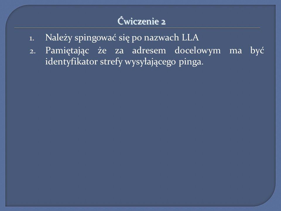 Ćwiczenie 2 1. Należy spingować się po nazwach LLA 2. Pamiętając że za adresem docelowym ma być identyfikator strefy wysyłającego pinga.