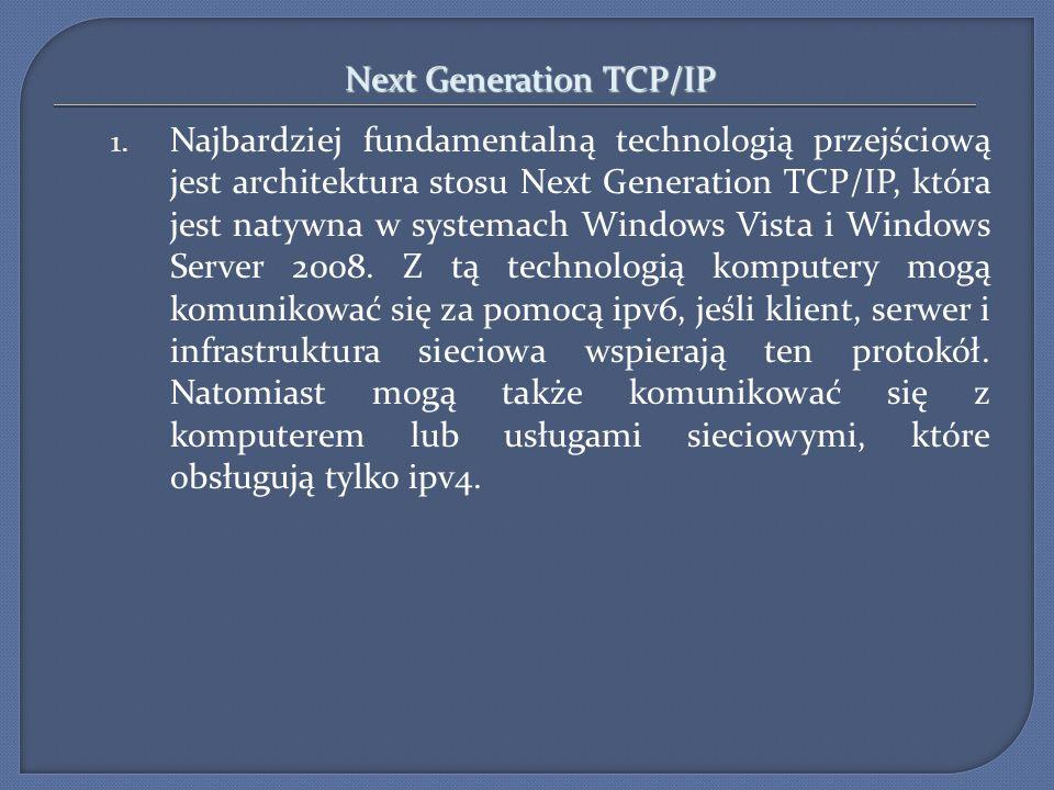 Next Generation TCP/IP 1. Najbardziej fundamentalną technologią przejściową jest architektura stosu Next Generation TCP/IP, która jest natywna w syste