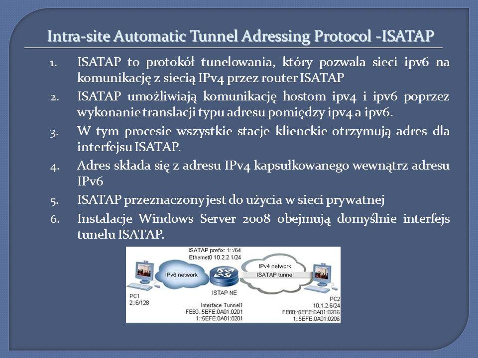 Intra-site Automatic Tunnel Adressing Protocol -ISATAP 1. ISATAP to protokół tunelowania, który pozwala sieci ipv6 na komunikację z siecią IPv4 przez