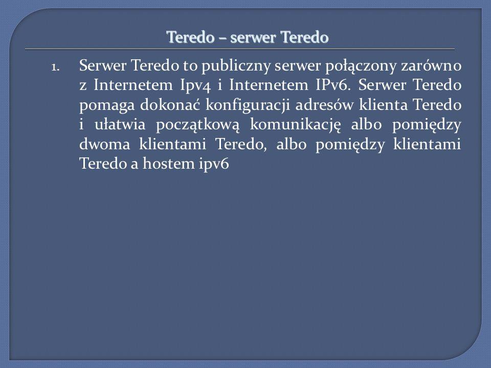 Teredo – serwer Teredo 1. Serwer Teredo to publiczny serwer połączony zarówno z Internetem Ipv4 i Internetem IPv6. Serwer Teredo pomaga dokonać konfig