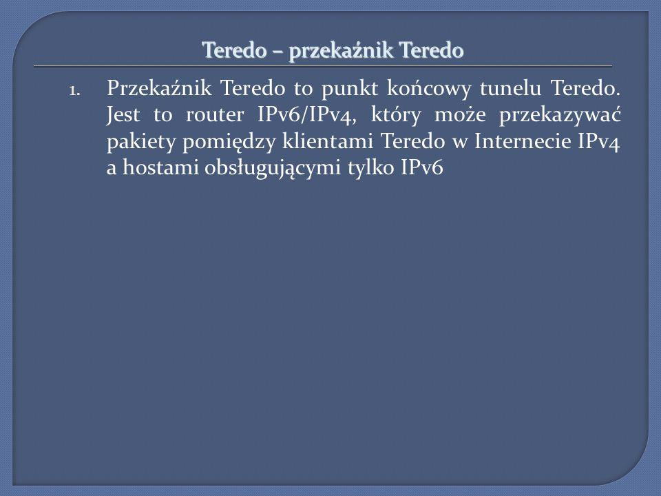 Teredo – przekaźnik Teredo 1. Przekaźnik Teredo to punkt końcowy tunelu Teredo. Jest to router IPv6/IPv4, który może przekazywać pakiety pomiędzy klie