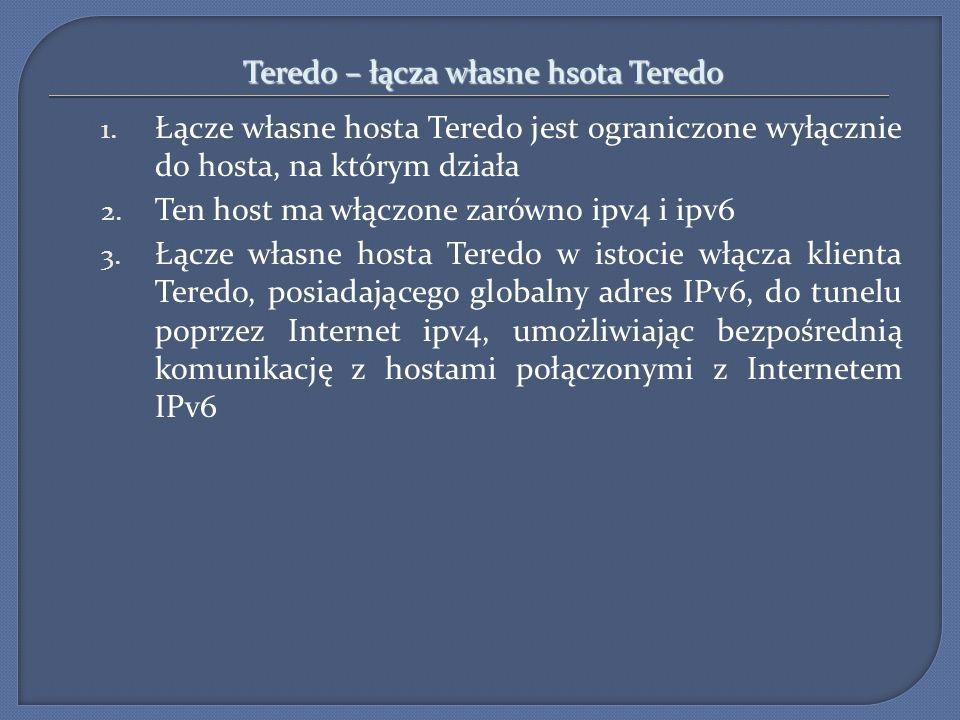 Teredo – łącza własne hsota Teredo 1. Łącze własne hosta Teredo jest ograniczone wyłącznie do hosta, na którym działa 2. Ten host ma włączone zarówno
