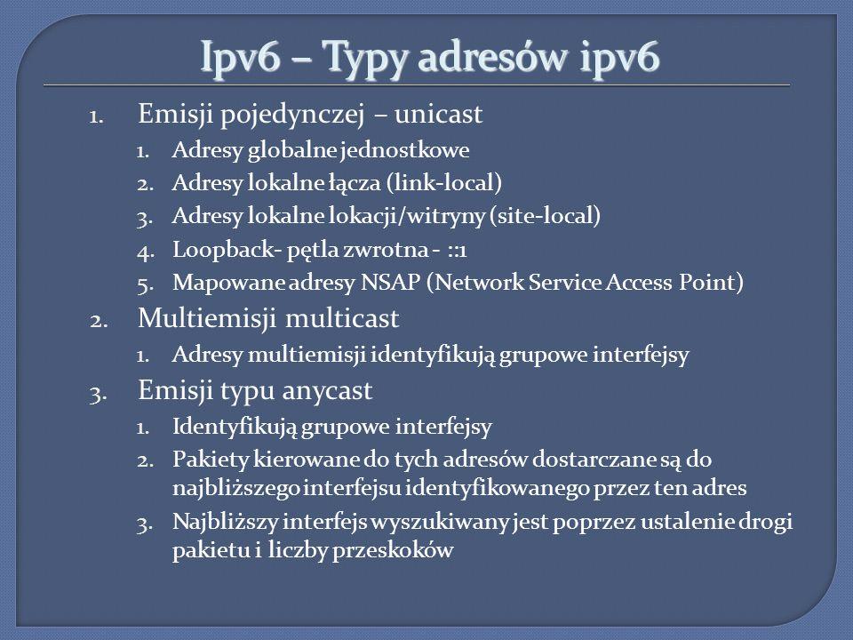 Ipv6 – Typy adresów ipv6 1. Emisji pojedynczej – unicast 1.Adresy globalne jednostkowe 2.Adresy lokalne łącza (link-local) 3.Adresy lokalne lokacji/wi
