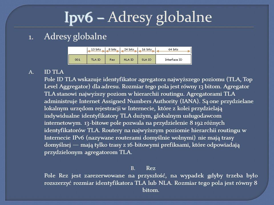 Ipv6 – Ipv6 – Adresy globalne 1. Adresy globalne A. ID TLA Pole ID TLA wskazuje identyfikator agregatora najwyższego poziomu (TLA, Top Level Aggregato