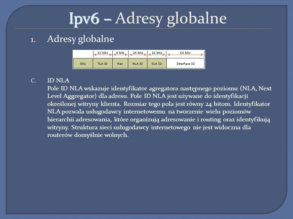 Ipv6 – Ipv6 – Adresy globalne 1. Adresy globalne C. ID NLA Pole ID NLA wskazuje identyfikator agregatora następnego poziomu (NLA, Next Level Aggregato