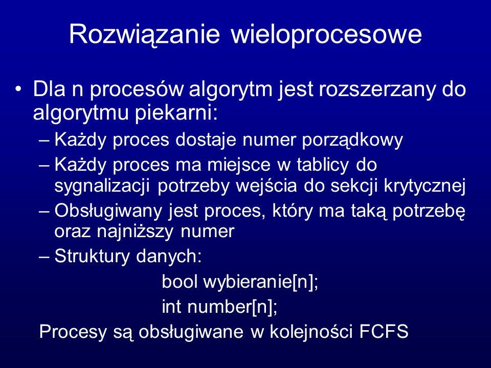 Rozwiązanie wieloprocesowe Dla n procesów algorytm jest rozszerzany do algorytmu piekarni: –Każdy proces dostaje numer porządkowy –Każdy proces ma mie