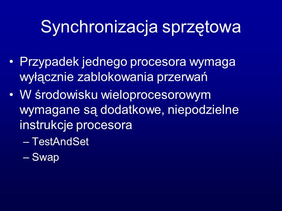 Synchronizacja sprzętowa Przypadek jednego procesora wymaga wyłącznie zablokowania przerwań W środowisku wieloprocesorowym wymagane są dodatkowe, niep