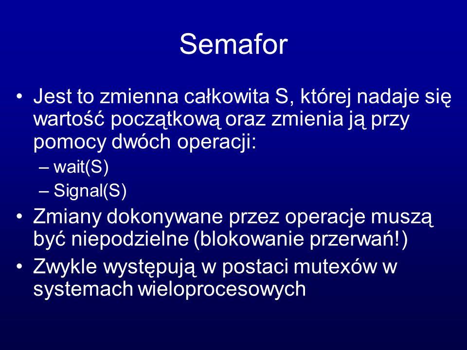Semafor Jest to zmienna całkowita S, której nadaje się wartość początkową oraz zmienia ją przy pomocy dwóch operacji: –wait(S) –Signal(S) Zmiany dokon