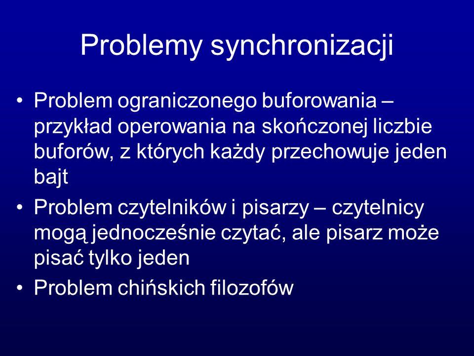 Problemy synchronizacji Problem ograniczonego buforowania – przykład operowania na skończonej liczbie buforów, z których każdy przechowuje jeden bajt
